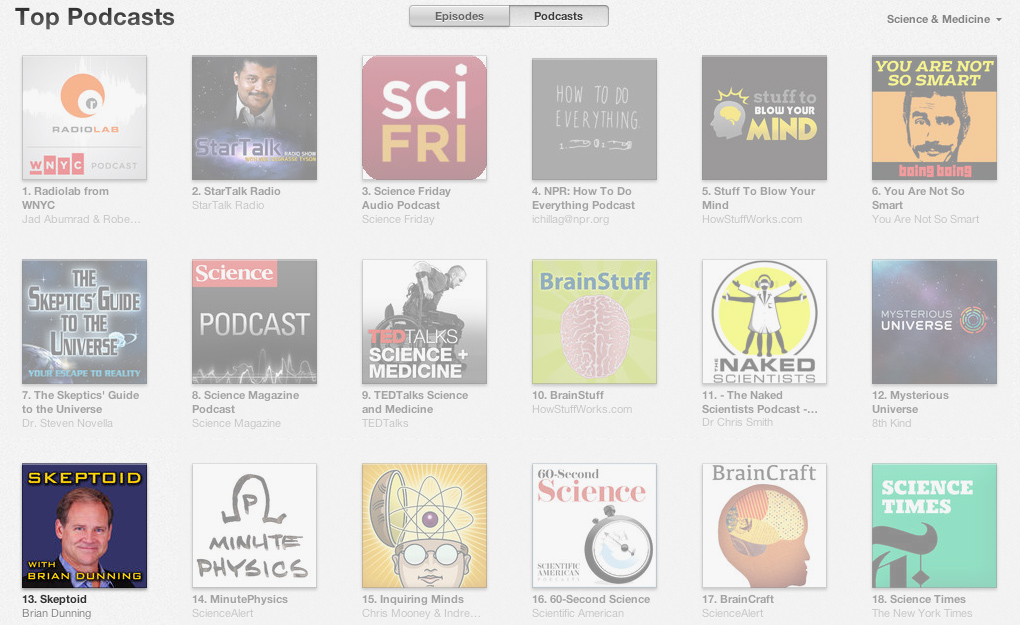 Skeptoid on iTunes - #13 in Science & Medicine